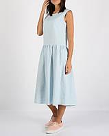 Голубое платье миди из 100% льна , фото 1