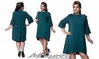 Платье свободное с погонами асимметричной длины, французский трикотаж, разные расцветки, большие размеры