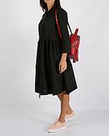 Чёрное льняное платье с кулиской на талии, фото 1