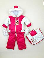 """Зимний костюм тройка """"Снеговик"""" для девочки (конверт, куртка, комбинезон)"""