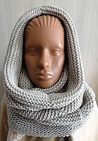 Комплект снуд-шарф объемный женский светло-бежевый