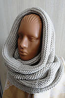 Снуд-шарф вязаный объёмный  светло-бежевый