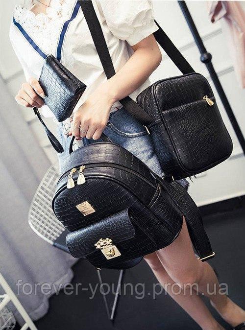 797d84e76237 Купить Рюкзак кожзам черный (комплект) в Киеве от компании