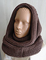 Комплект снуд-шарф объемный женский коричневый