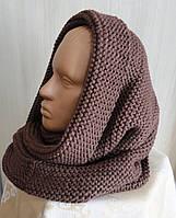 Вязаный снуд-шарф объемный  коричневый