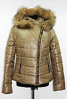 Куртка женская зимняя косуха с натуральным мехом, бежевая, р 44-48