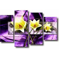 Модульная картина с лилиями ЖЕЛТЫЕ ЛИЛИИ из 4 частей