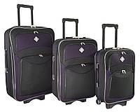 Чемодан Bonro Style набор 3 штуки черно-т. фиолетовый