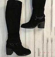 Женские замшевые сапоги на устойчивом каблуке. Возможен отшив в других цветах  замши и кожи