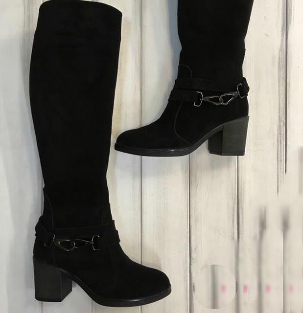 Жіночі замшеві чоботи на стійкому каблуці. Можливий відшиваючи у інших кольорах замші та шкіри