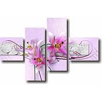 Модульная картина с лилиями РОЗОВЫЕ ЛИЛИИ из 4 фрагментов