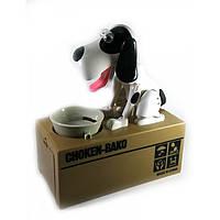 Копилка Голодная Собака на батарейках бело-черная (15х16х8 см)