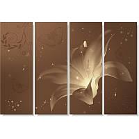 Модульная картина с лилиями НОЧНАЯ ЛИЛИИ из 4 частей