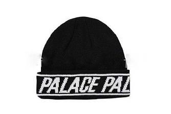 Зимова шапка чорна з принтом Palace в стилі унісекс чоловіча жіноча