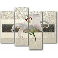 Модульная картина с лилиями БЕЛАЯ ЛИЛИЯ из 4 частей