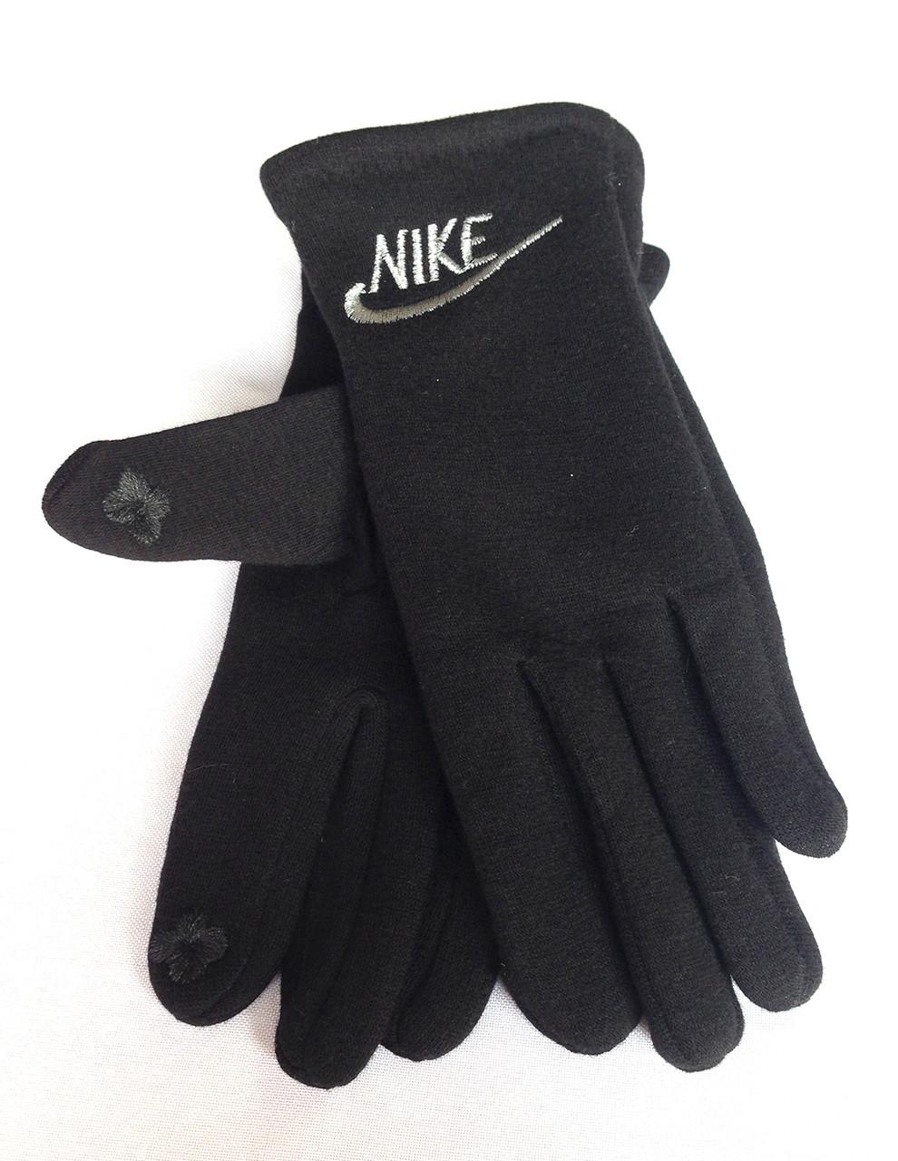 Сенсорные перчатки Nike, трикотаж/флис, черные
