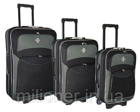 Чемодан Bonro Style набор 3 штуки черно-серый, фото 2
