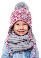 Теплая шапка для девочки ( флис )