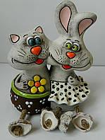 Керамічна скарбничка Кіт-кролик Керамическая копилка Кот-кролик