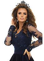 Чудесное длинное вечернее платье с гипюром  42,44,46
