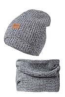 Теплый вязанный комплект шапочка и снуд - хомут,  для девочки от AGBO Польша