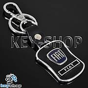 Металлический брелок с кожаными вставками и карабином для авто ключей Fiat (Фиат)