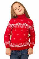 """Теплый вязанный свитер """"Исландия"""" для девочек, цвет красный"""