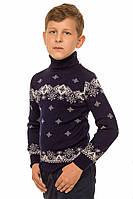 """Теплый вязанный свитер """"Исландия"""" для мальчика, цвет темно-синий"""