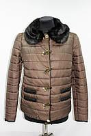 Куртка женская демисезонная с искусственным мехом, коричневая, р.44-50