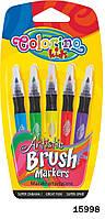 Ручка с кисточкой наполненная краской, 5 цветов, ТМ Colorino
