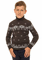"""Теплый вязанный свитер """"Исландия"""" для мальчика, цвет темно-серый"""