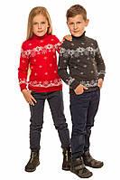 """Теплый вязанный свитер """"Исландия"""" для мальчика, цвет красный"""