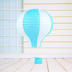 """Бумажный декор для праздника """"Воздушный шар"""" голубой с белым"""