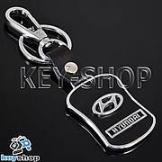 Металлический брелок с кожаными вставками и карабином для авто ключей HYUNDAI (Хундай)