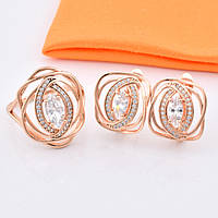 Набор R64 кольцо размер 22 + серьги 18*16 мм, белые камни, позолота РО