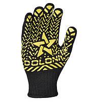 Перчатки рабочие с желтым ПВХ рисунком Doloni Звезда черные 562