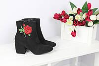 Только 36, 37 размер! Ботильоны черные экозмш с вышивкой цветы
