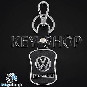 Брелок для авто ключей Volkswagen (Фольксваген) металлический, с кожаными вставками и карабином, фото 2