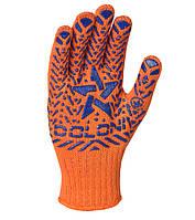 Перчатки рабочие с синим ПВХ рисунком Doloni Звезда оранжевые 564, фото 1