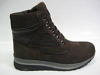 Женские кожаные демисезонные ботинки коричневого цвета, фото 1
