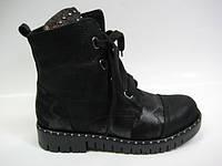 Женские стильные кожаные демисезонные ботинки, фото 1