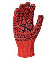 Перчатки рабочие с черным ПВХ рисунком Doloni Звезда красные 4040, фото 1