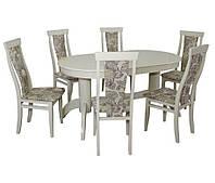 Комплект стол и стул Альфа (Лак Белый) Бук массив
