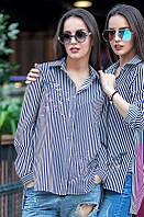 Рубашка женская в полоску Амалия, рубашка в полоску женская, дропшиппинг украина, фото 1