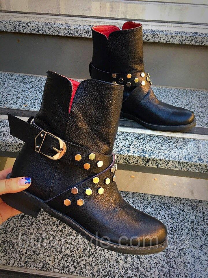 40 размер! Женские удобные ботинки с ремешком кожа