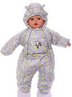 Демисезонный комбинезон для новорожденного (0-6 месяцев) серые пуговички