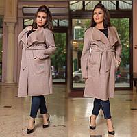Ангоровое пальто больших размеров с отложным воротником