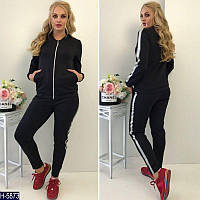 Модный спортивный костюм люкс качества черный батал. Арт-14034