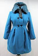 Пальто демисезонное девочка, двубортное с натуральным мехом, голубое, р. 32-42