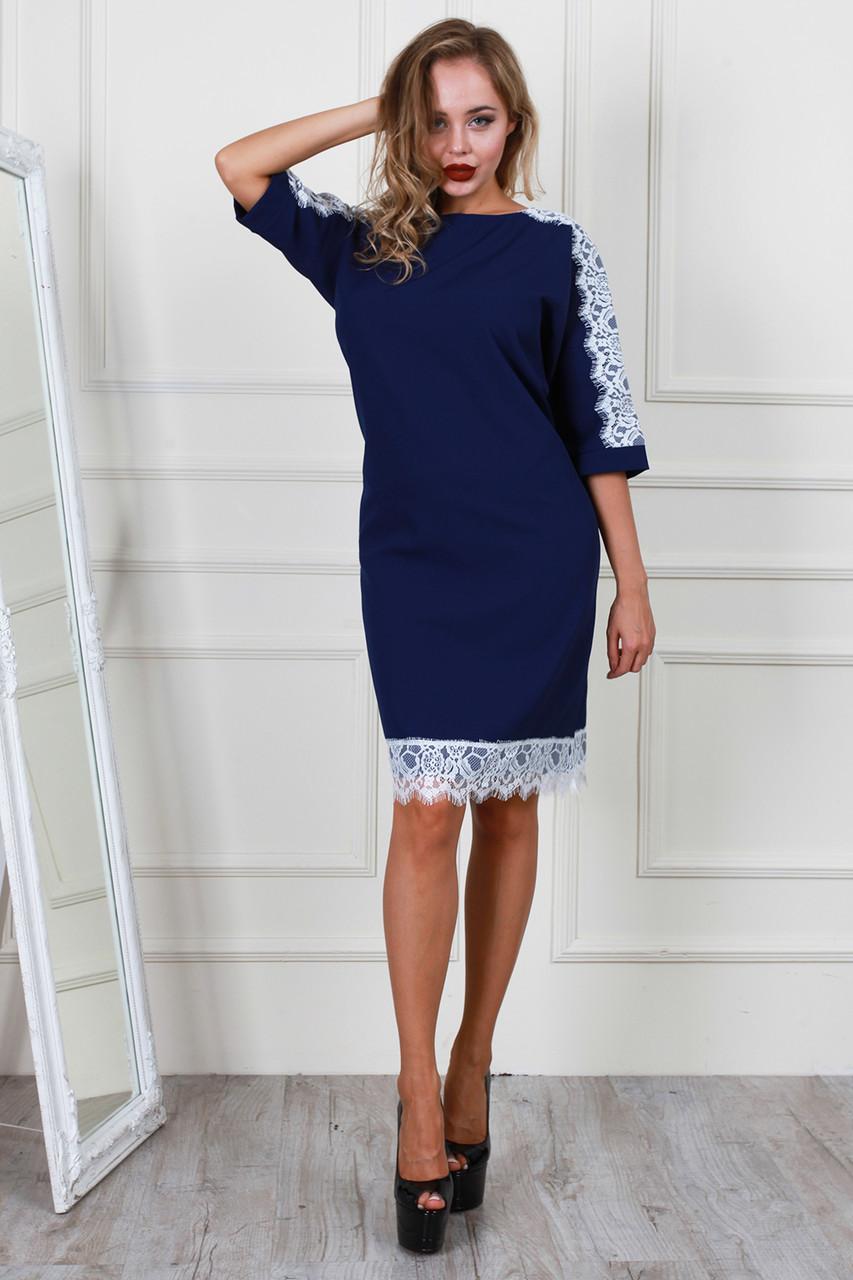 b2bc13c341f Купить Нарядное синее платье с белым кружевом 593500982 - Грация   Стиль